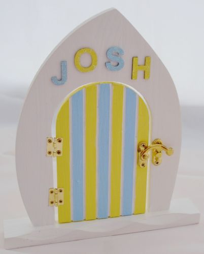Blue and Yellow Fairy Door With Name Of Your Choice