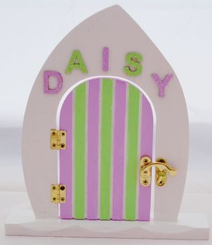 Lilac And Green Fairy Door With Name Of Your Choice