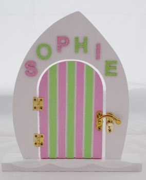 Pink And Green Fairy Door With Name Of Your Choice