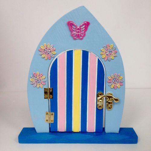 Blue Flowery Fairy Door