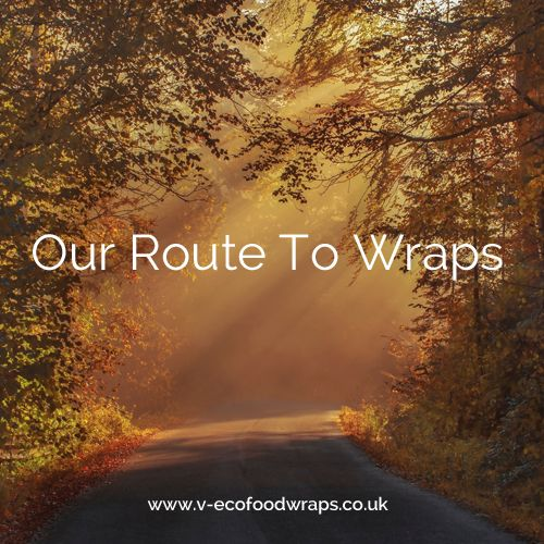 """image of road with sunlight shining through trees with wording """"Our Route To Wraps"""""""