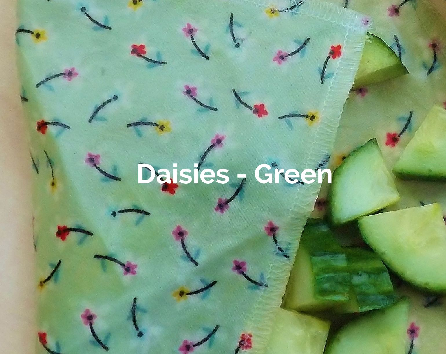Daisies Green fabric of a V-Eco Food Wrap