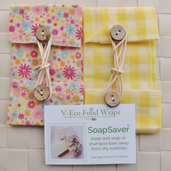 Ditsy Flower Pink & Yellow Plain Gingham SoapSaver