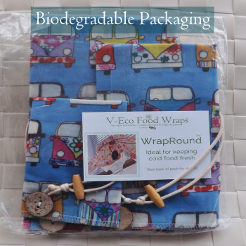 WrapRound™ 3 Pack  - Plant-based, waxed wraps. Handmade in Liverpool - Retro Campervan Blue