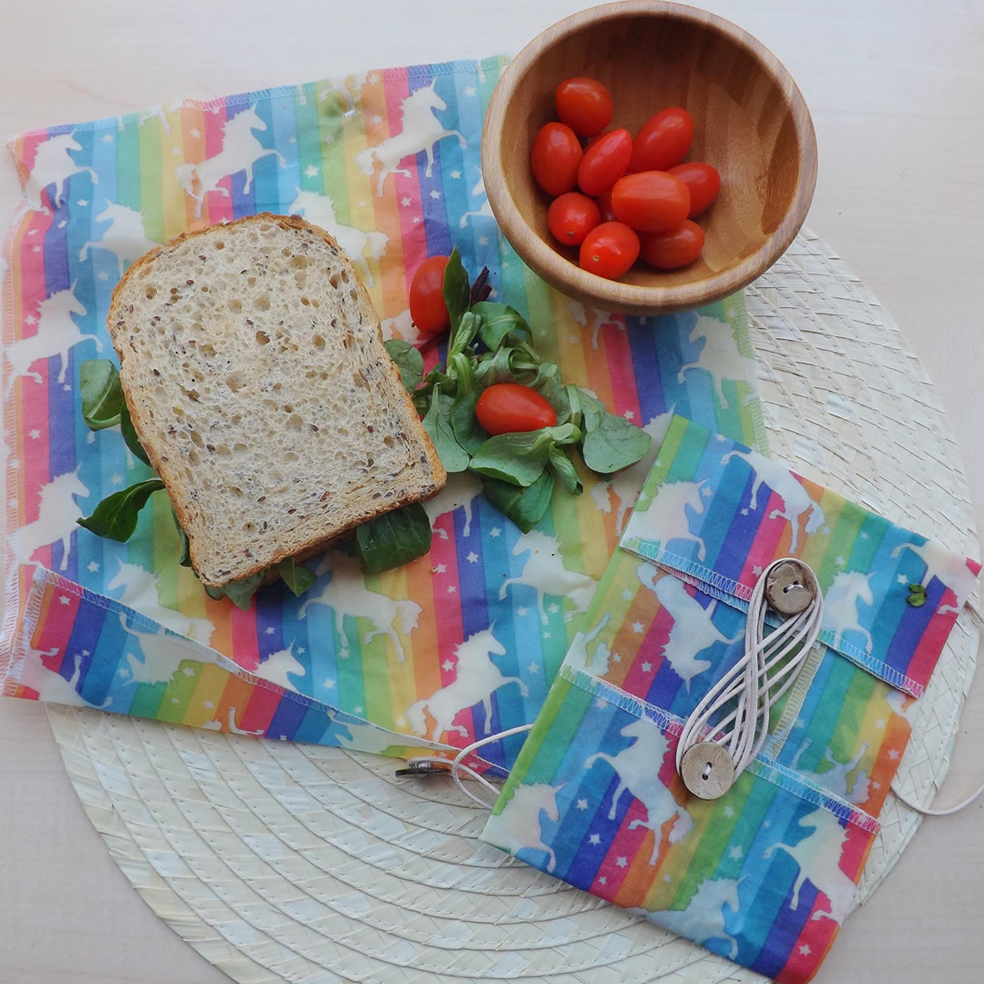 "V-Eco Food Wraps - ButtyWrapâ""¢ in Unicorn design waxed cotton fabric"