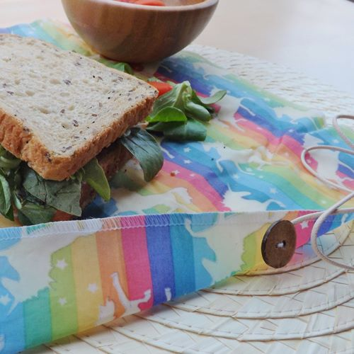 """V-Eco Food Wrapsâ""""¢,  ButtyWrapâ""""¢  in unicorn waxed fabric"""
