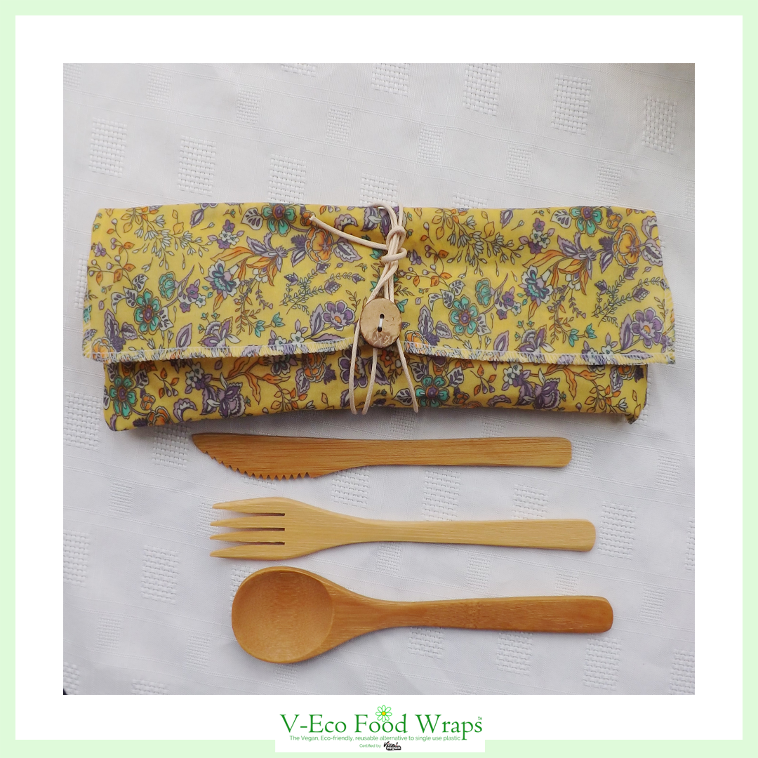 CutleryCaddy™  - 1 place setting - Floral Breeze Yellow Fabric
