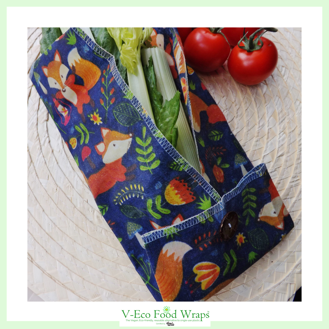 """V-Eco Food Wraps, WindRoundâ""""¢  - waxed fabric  wrap in fox design wrapped around salad leaves alongside tomatoes"""