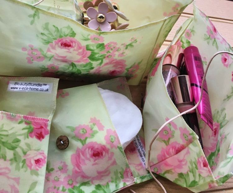 V-Eco Pamper Packs, BeautyBundle with a range of bags and pouches in floral fabric