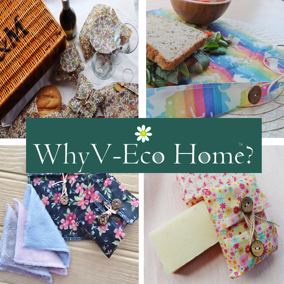 V-Eco Home, quartet of images of various wraps and pouches