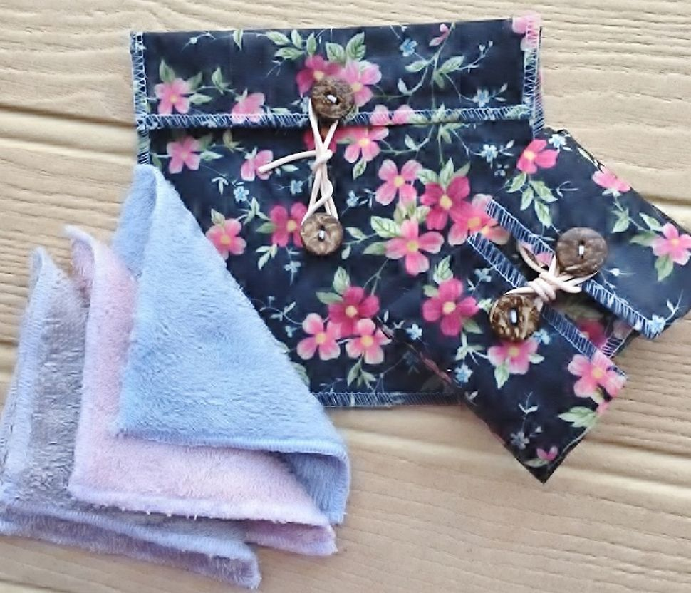 V-Eco Pamper Packs, PamperPouch with double-sided bamboo face wipes, a vegan waxed pouch and a vegan waxed SoapSaver