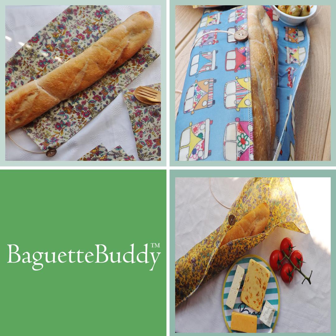 "V-Eco Food Wrapsâ""¢, quartet of images showing BaguetteBuddyâ""¢"