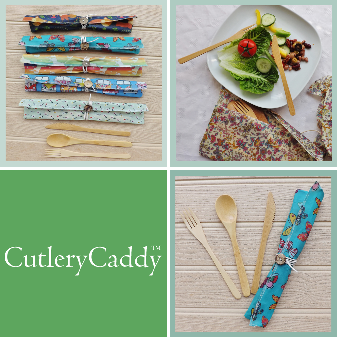 V-Eco Food Wraps,  CutleryCaddy - quartet of images of waxed  fabric pouches with bamboo cutlery