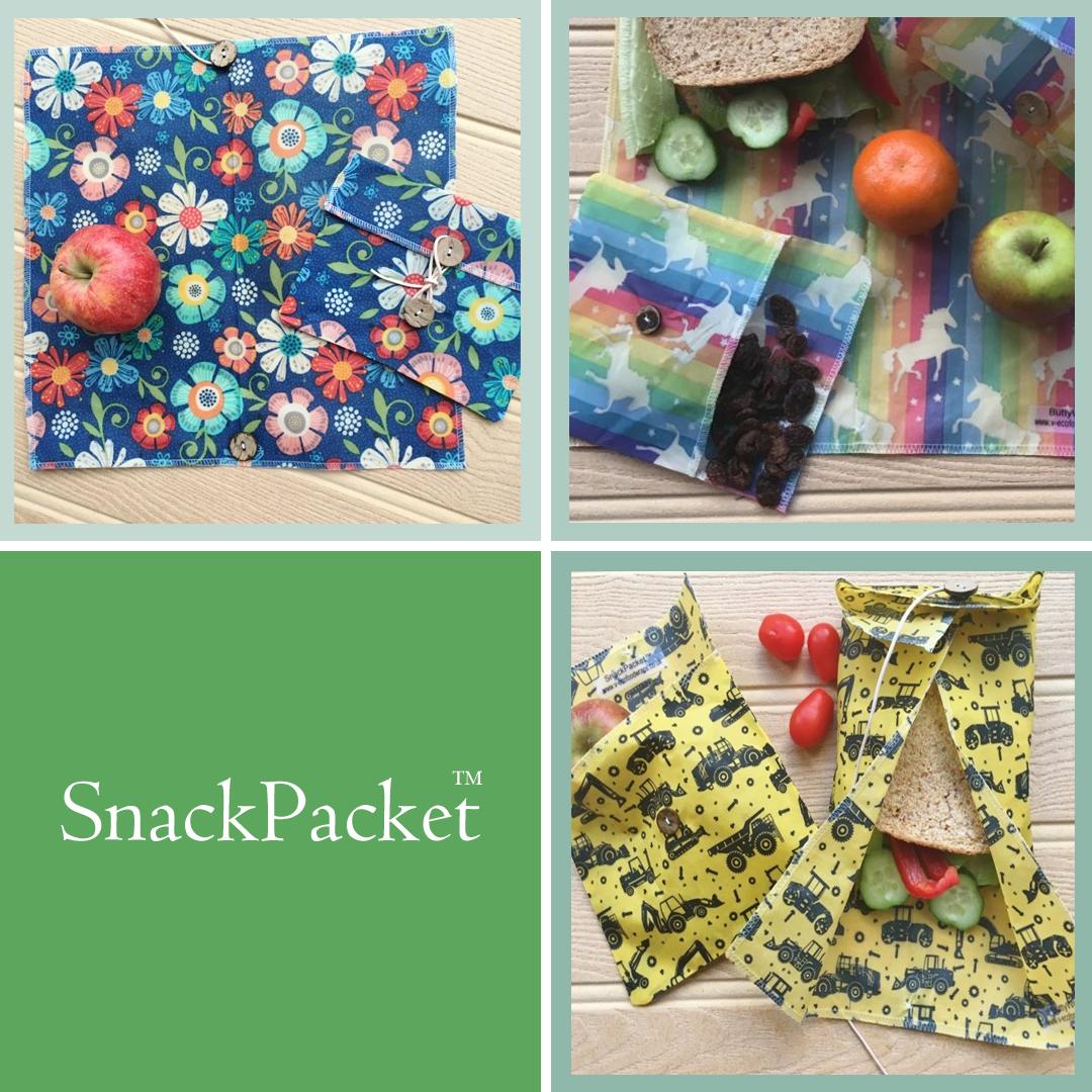 "V-Eco Food Wrapsâ""¢ - SnackPacketâ""¢ - quartet of images of waxed food wraps"