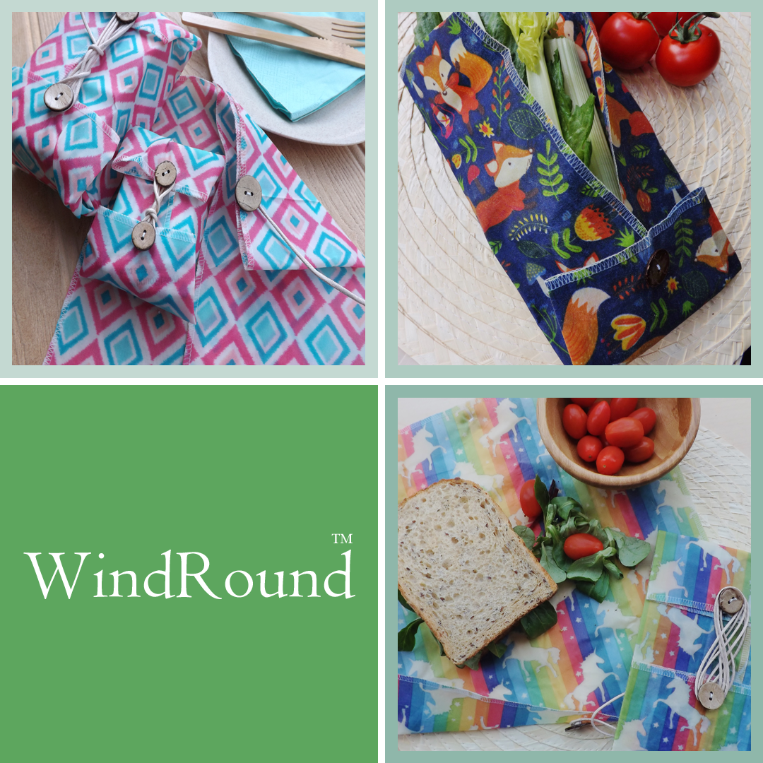 """V-Eco Food Wraps, WindRoundâ""""¢ - 3 waxed food wraps in pink and blue geometric fabric"""