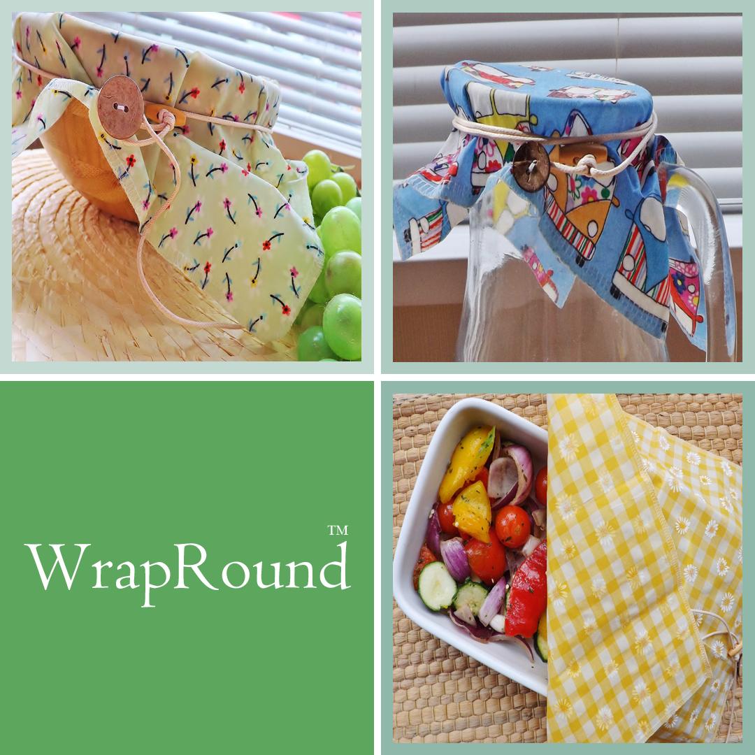 "V-Eco Food Wrapsâ""¢,  WrapRound â""¢ -  quartet of images of waxed food wraps"