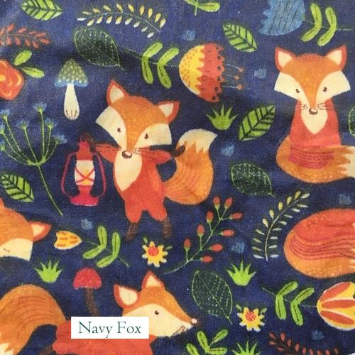 V-Eco Food Wraps, Navy Fox fabric