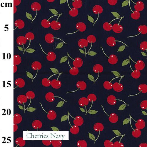 V-Eco Food Wraps, Cherries Navy fabric