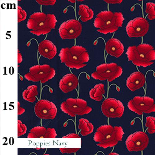 V-Eco Food Wraps, Poppies  - Navy fabric