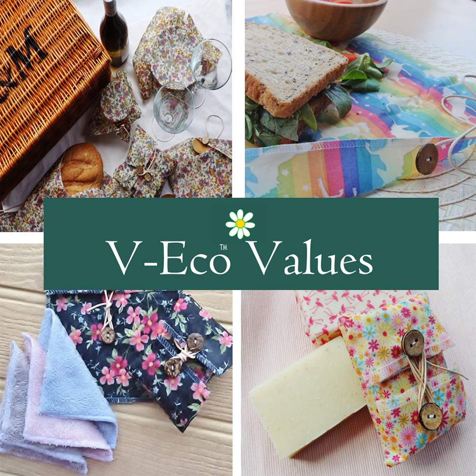 Quartet of images showing various wraps and pouches from V-Eco Food Wraps and V-Eco Pamper Packs with the words V-Eco Values