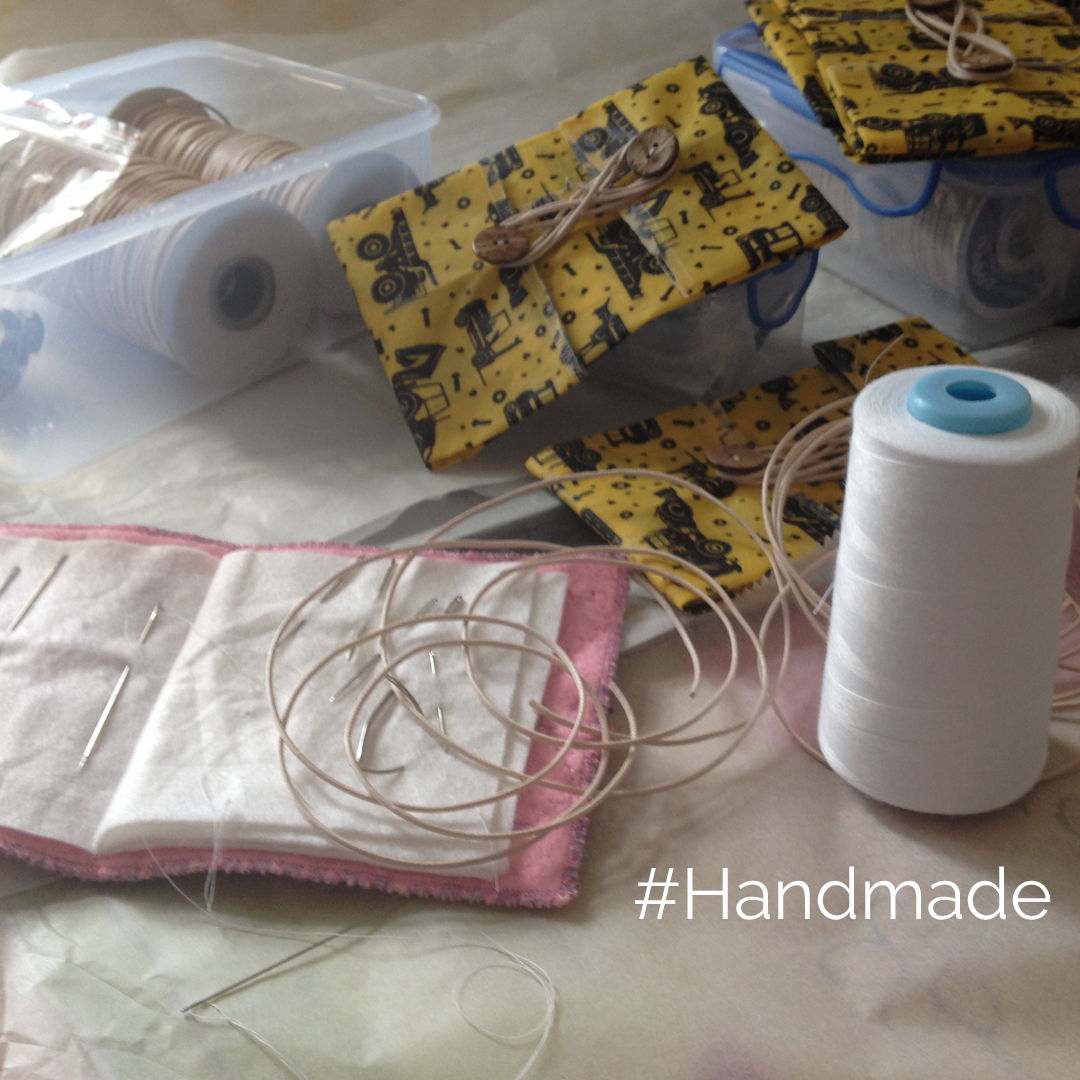 #Handmade, ButtyWrap with reel of cotton,  sewing needles and cotton cord V-Eco Home