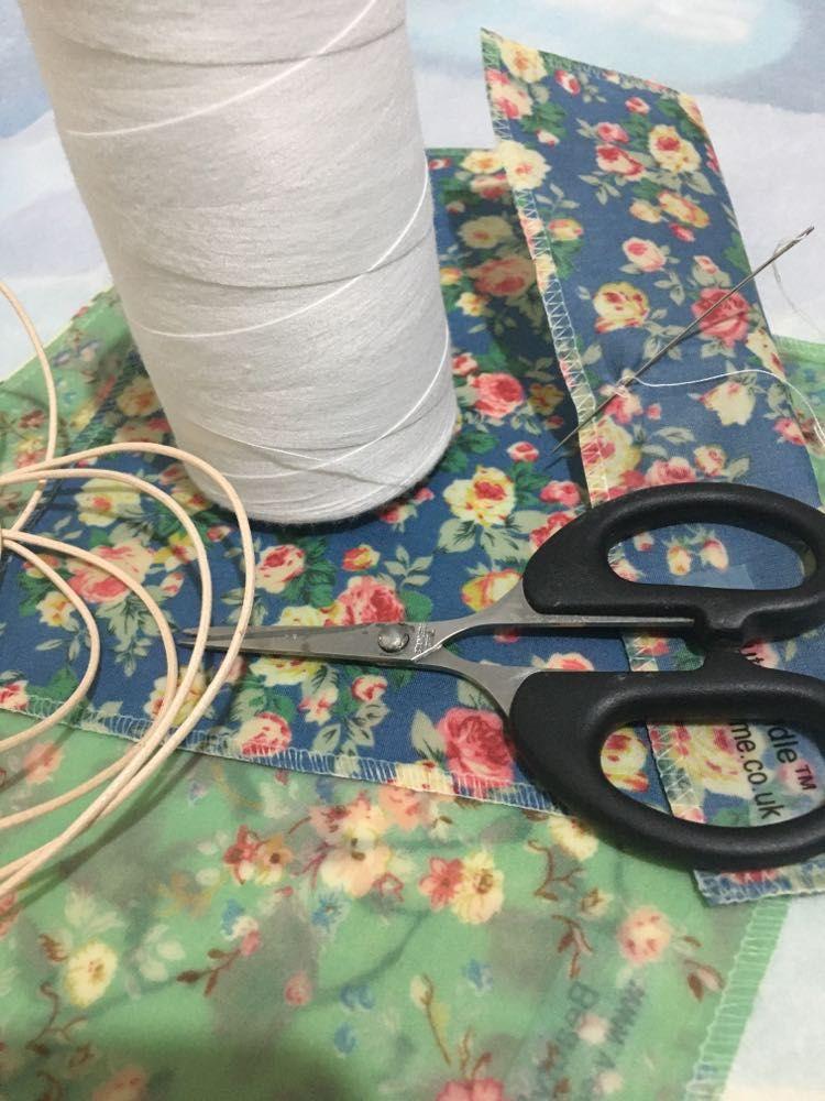 Fabric, scissors, cotton and cord, V-Eco Home