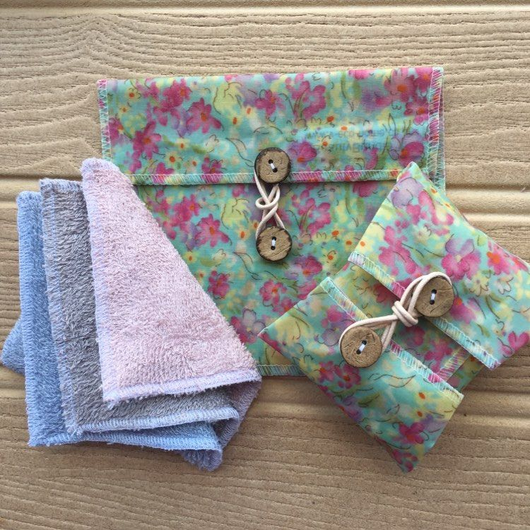 """V-Eco Pamper Packsâ""""¢,  PamperPouchâ""""¢ and SoapSaverâ""""¢ in blue floral waxed fabric"""