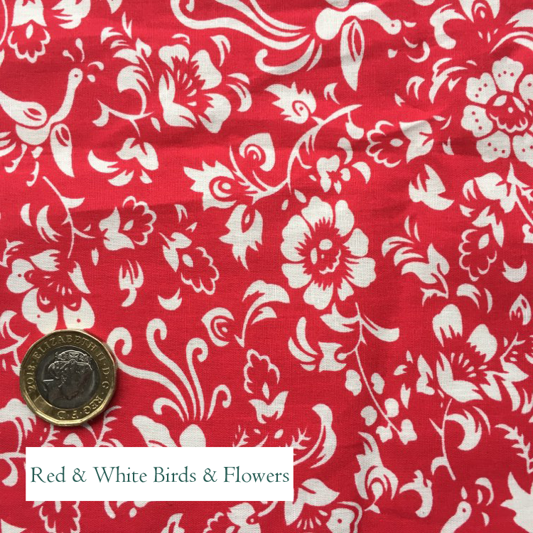"""V-Eco Food Wrapsâ""""¢  fabric square - red background with white birds and flowers"""