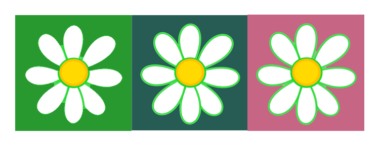V-Eco Home, trio of daisy logos in green, teal and pink