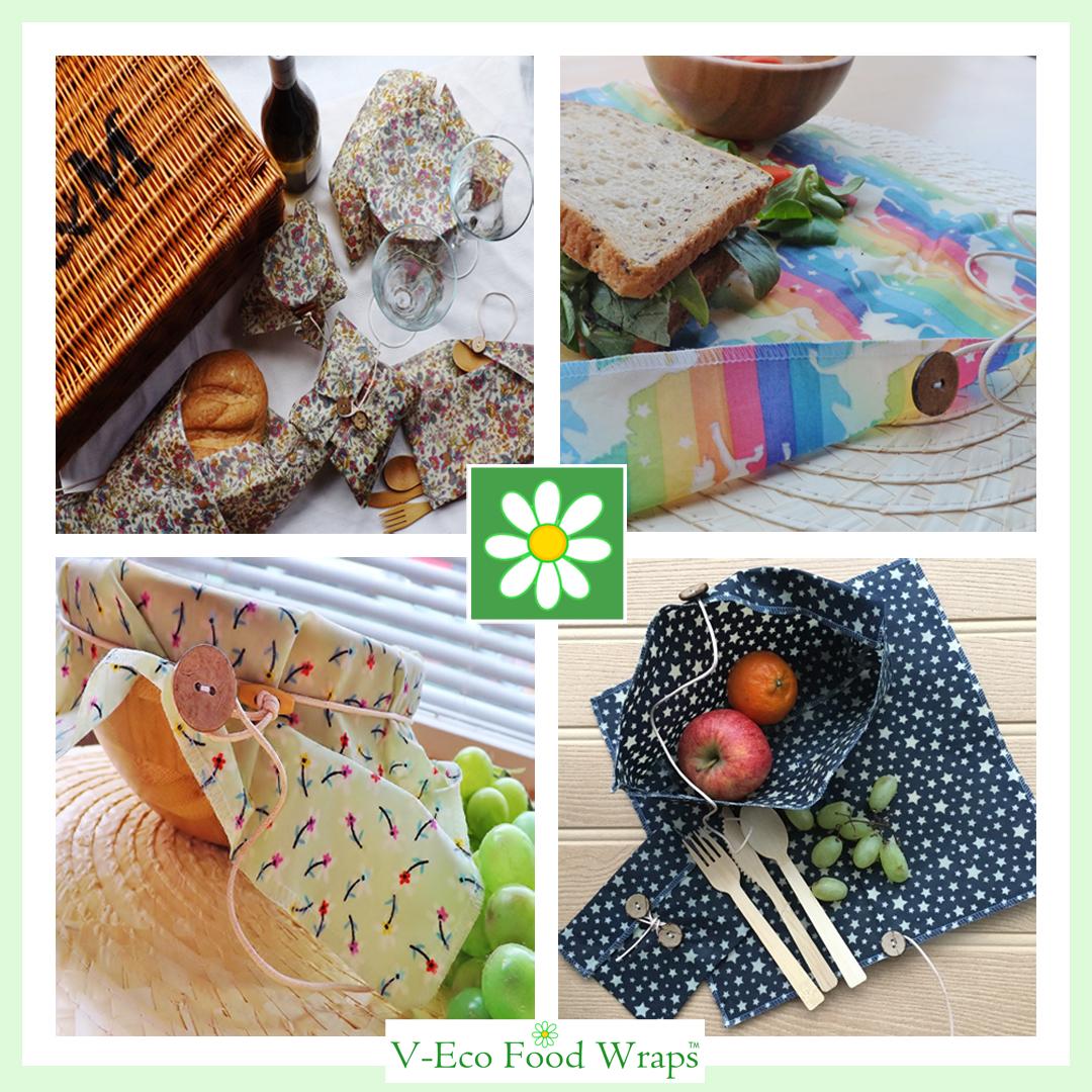 "V-Eco Food Wrapsâ""¢, Quartet of images showing various wraps and pouches"