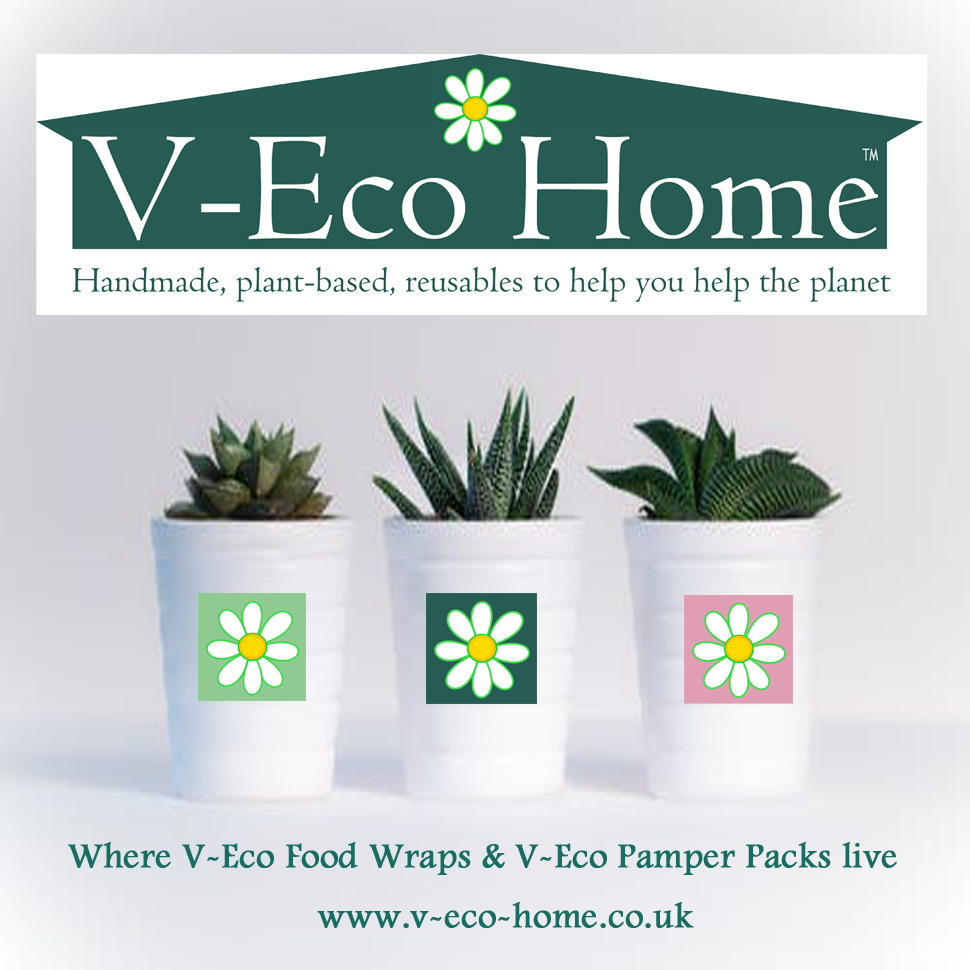 V-Eco Home, 3 plants in plant pots which each has a different coloured V-Eco daisy logo