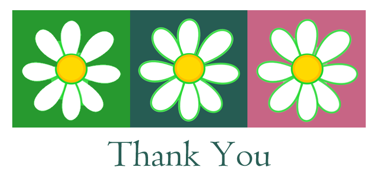 V-Eco Home, trio of daisy logos with Thank You underneath