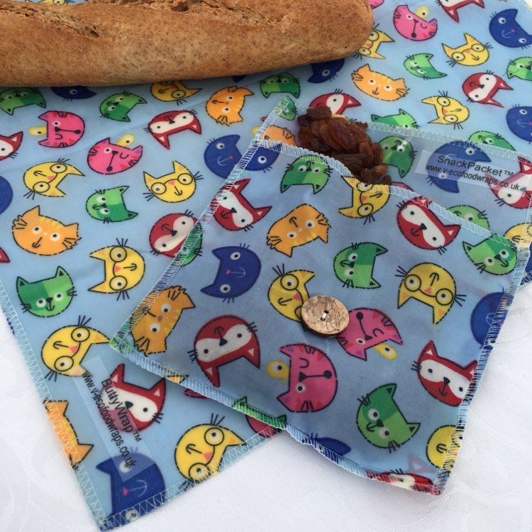 V-Eco Food Wraps, MunchMedley in cats fabric
