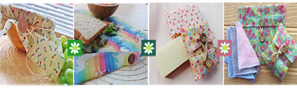 V-Eco Home, quartet of images of wraps and pouches with wording Home to V-Eco Food WRaps and V-Eco Pamper Packs