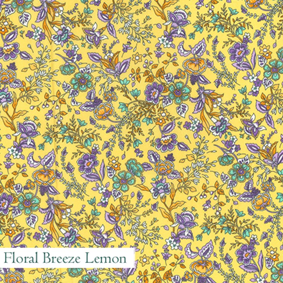 Floral Breeze Lemon Fabric - V-Eco Home