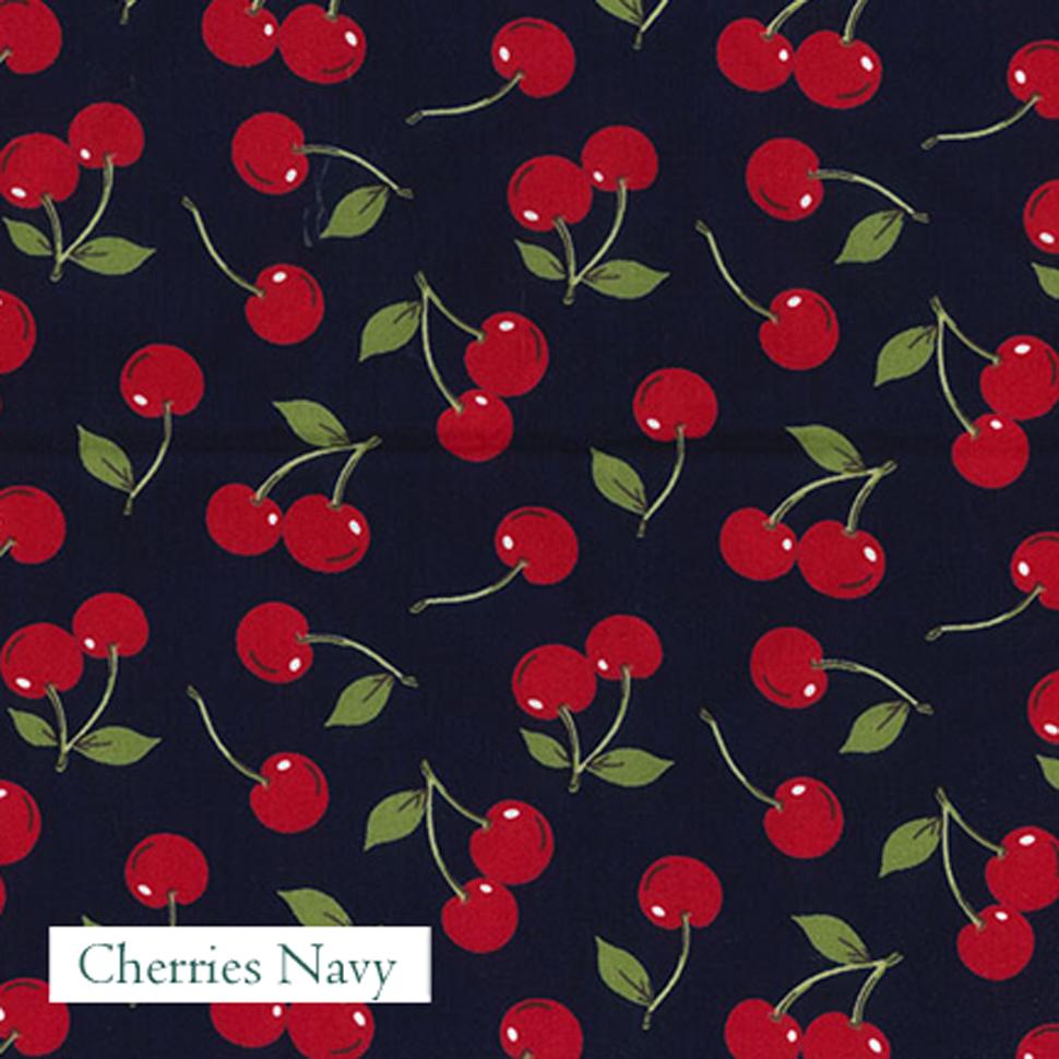 Cherries Navy Fabric,  V-Eco Home