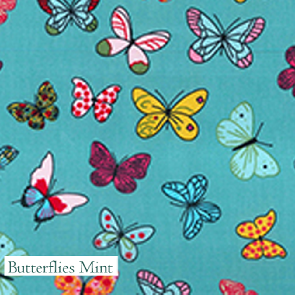 Butterflies Mint Fabric, V-Eco Home