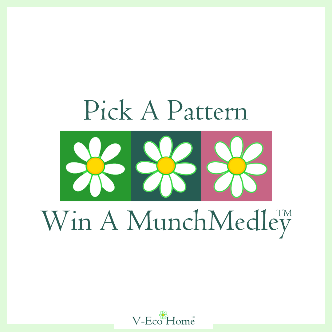V-Eco Home, trio of daisy logos in green, teal and pink with the wording PICK A PATTERN WIN A MUNCHMEDLEY