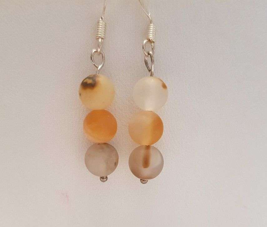 Smoky Frosted Agate earrings