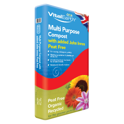 12 x 60L Vital Earth Multi Purpose Compost With Added John Innes Peat Free