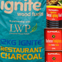 Restaurant Charcoal Value Pack With Firelighters and Lighter Fluid