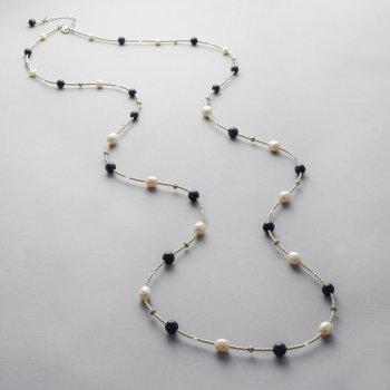 Necklace - Lapis lazuli, fresh water pearls and swarovski crystals