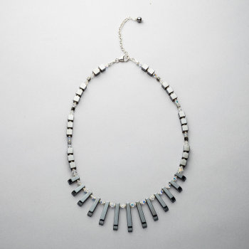 Necklace - Hematite and Swarovski crystals