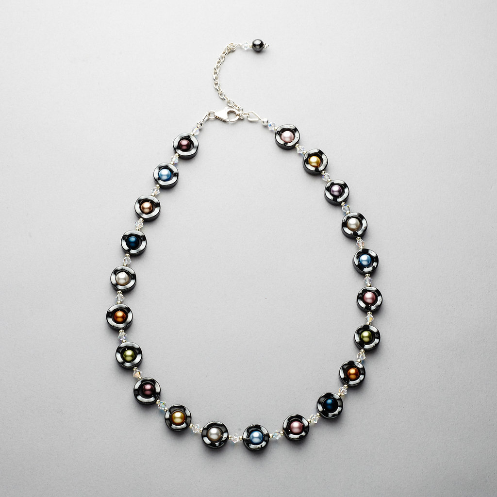 Necklace - Hematite with Multi Coloured Swarovski Pearls and Crystals