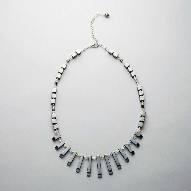 Necklace with Hematite and Swarovski Crystals