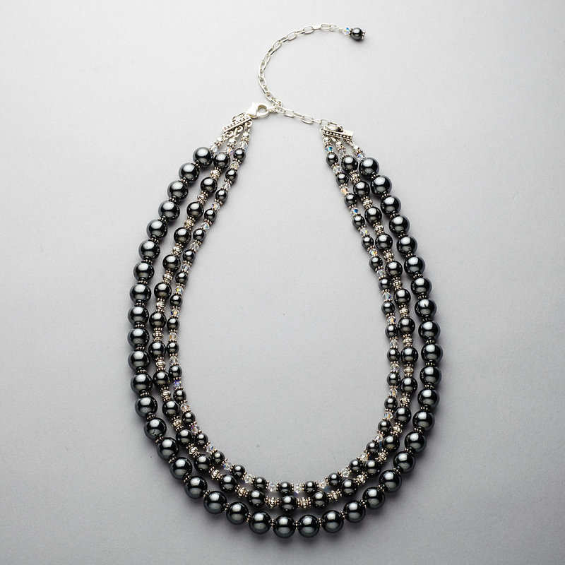 Necklace - Hematite, Three Strand