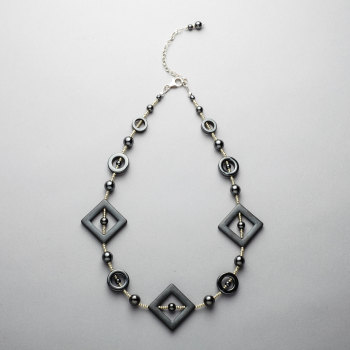Necklace - Hematite matt and polished