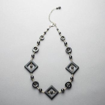 Necklace - Hematite matt and polished