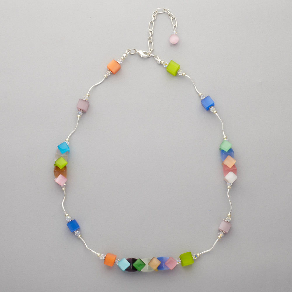 Necklace - Cat's Eye Glass Bead With Swarovski Crystal
