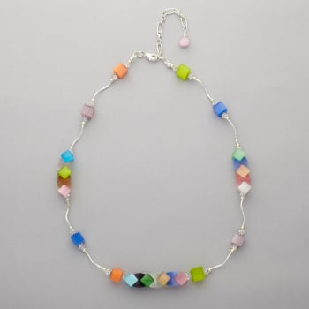 Necklace - Cat's eye glass bead with Swarovski crystals